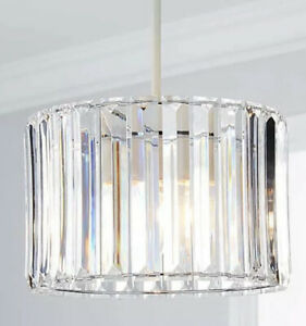 New HQ Acrylic Prism Chrome Easy Fit Pendant Lamp Shade Ceiling Light Pendant