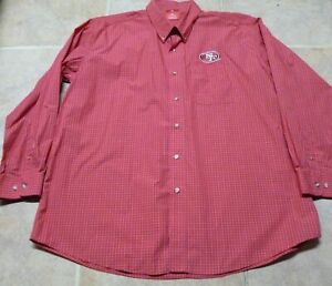 San Francisco 49ers Mens Antigua Long Red Sleeve Button Up Shirt Size XXL NWOT