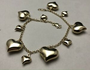 Vintage 14K Solid .585 Yellow Gold Puffy Heart Estate Bracelet 7.86g