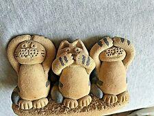 "Methil Moggies Cat Trio Earthen Images Scotland Pottery ""3 wise cats"" VGC"