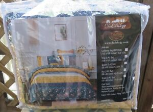 3PC King DaDa Bedding BOHEMIAN PATCHWORK Bed of Wild Flowers Quilt & Shams NEW