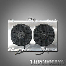 2 Row Aluminum Radiator + Fan Shroud For Mitsubishi Lancer L4 2.0L 2.4L AT 02-07