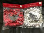 CHRISTMAS VINTAGE MACY'S ALL THE TRIMMINGS TREE GARLAND SILVER RED STARS 25' NEW