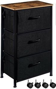 EKNITEY 3 Drawers Nightstand, Small Dresser Chest Sturdy Side End Table with...