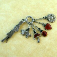 Antique German Silver Saluting Soldier Enamel Lucky Charms Mushroom Heart Pig +