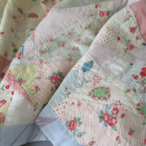 """Antique c1940s Handmade PATCHWORK Quilt BABY Child Colorful FEEDSACKS 51""""X30"""""""