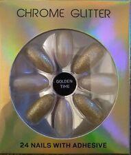 Fashion False Nails Primark Squareletto Pointed Chrome Glitter GOLDEN TIME
