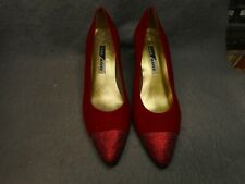 VINTAGE WOMAN'S PAUL MAYER RED SUEDE & SPARKLE HEEL SHOES SLIGHTLY USED SIZE 8