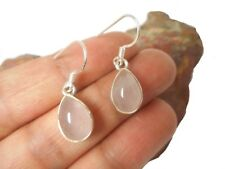 Teardrop  ROSE QUARTZ   Sterling  Silver  925 Gemstone  EARRINGS  -  Gift Boxed