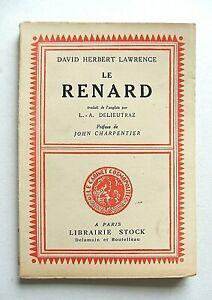D. H. LAWRENCE : LE RENARD / STOCK / 1928 / EO FRANÇAISE N°