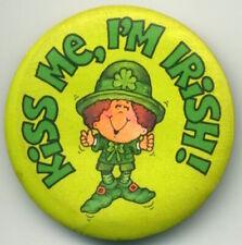 "ST PATRICK'S DAY Kiss Me, I'm Irish 2.25"" Hallmark Pinback Button 1981"