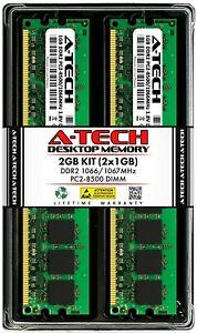 A-Tech 2GB 2x 1GB PC2-8500 Desktop DDR2 1066 MHz DIMM 240-Pin Non-ECC Memory RAM