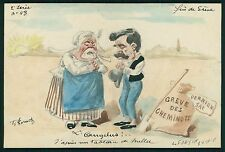 art Roberty France Railways Strike Political comic 1910 hand painted postcard b