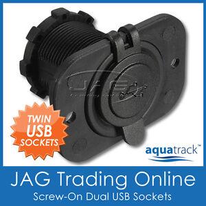 12V USB POWER SOCKET DUAL CHARGER INLETS 1A/2.1A- Flush Mount/Boat/Caravan/RV