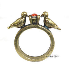 Vintage Bronze Bird Swallow Red Crystal Costume Jewellery Ring