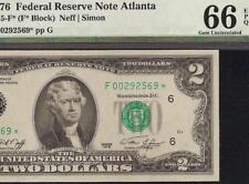 GEM 1976 STAR $2 TWO DOLLAR BILL FEDERAL RESERVE NOTE Fr 1935-F* PMG UNC 66 EPQ