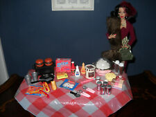 1/6 scale Barbie Silkstone Fashion Royalty Mixed Food lot Bbq picnic table cloth
