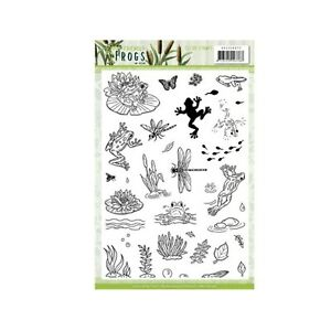 Friendly Frogs Cling Stamp Amy Designs clear stamps lily pad,tadpole,dragonfly