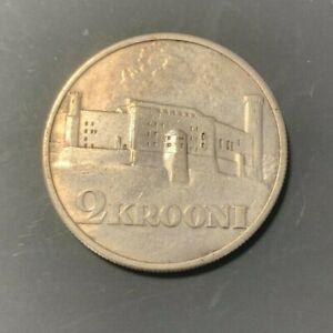 """#2 ESTONIA 1930 2 Krooni SILVER COIN """"Toompea Fortress""""  VF+/XF KM#20"""