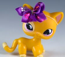Littlest Pet Shop Cat Shorthair #855 Yellow With Pink/Purple Eyes