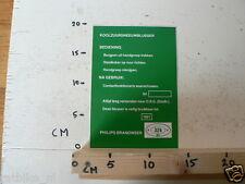 STICKER,DECAL PHILIPS BRANDWEER KOOLZUURSNEEUWBLUSSER 324 B41 BZ BEDIENING NA GE