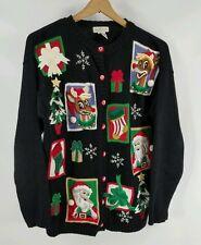 Yarnworks Rudolph Santa Tree Bell Christmas Sweater Cardigan - Large