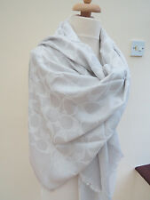 NEW!COACH Signature C Jacquard Oversized Square Scarf White RRP$170 slightsecond