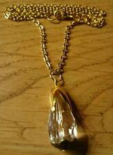 Halskette vergoldet ** Glas-Tropfen Anhänger im brilliant Schliff**weiß
