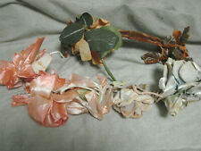 Vintage 60s Velvet Rose Millinery Corsage Clasp Pin Lot Flowers Headband