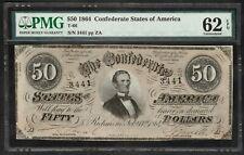 1864 $50.00 Confederate States Note – Pmg Uncirculated 62 Epq