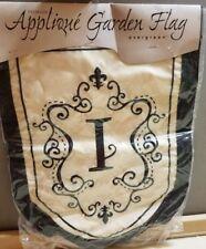 """NIP Evergreen Garden Flag Black Tan Monogrammed Letter *I* ~ 17.5"""" 12 3/4"""""""