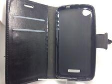 HTC Desire 320 Estuche Cubierta Negro Cuero PU Libro