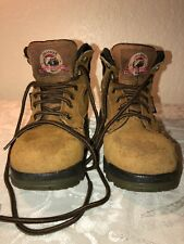 Brahma Work Hiking Boots Womens Brown Suede Leather Waterproof Size 5.5 Pre-Own