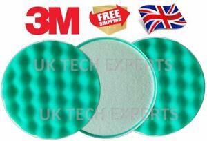 3 x Pads - 3M Finesse-it Waffle Polishing Pad Compounding L2 Green round 135mm