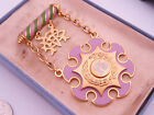 Antique 15 year Odd Fellows IOOF Gold & Enamel Fraternal Badge Medal Pin & Case