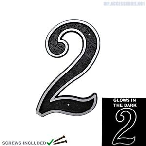 House Number 2 Plaques Sign Home Door Gate Numbers Visibility Glow Phosphorus