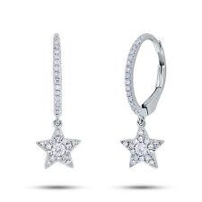 0.22CT 14K White Gold Natural Round Cut Diamond Dangling Drop Star Earrings
