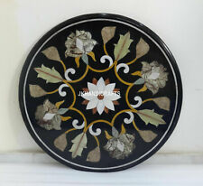 Black Marble Coffee Mosaic Art Table Top Marquetry Inlaid Handmade Gifts 24""