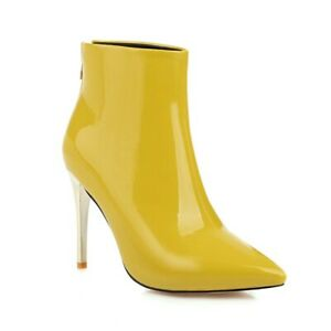 Womens Patent Leather Boots Stiletto High Heels Zipper Ankle Booties Pointed Toe