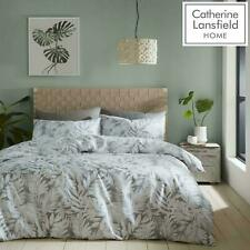 Montego Leaf Catherine Lansfield Grey Duvet Set Reversible Bedding Spread