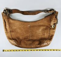 Perlina Hobo Bag Purse Crocodile Embossed Tan Natural Genuine Leather Pre-Owned