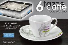SET 6 TAZZINE CAFFE' CON PIATTINO QUADRATO DECORATE ELE-449680