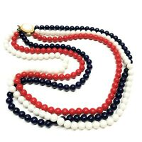 Red, White, & Blue Beaded Statement Necklace, Multi Strand, Japan, Vintage