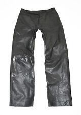 """Vintage Black Leather Straight Leg Biker Jeans Pants Trousers Size W33"""" L30"""""""