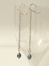 Süßwasser Perlen Ohrringe Ohrhänger Creolen Metallic Blue Blau
