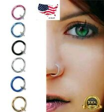 clip on body jewelry silver goth ear nose lip hoop ring fake cheater earring