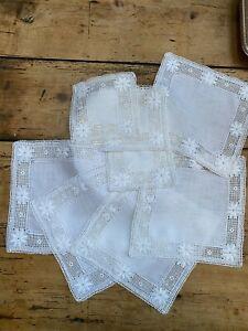 Set of square white antique linen & crochet table mats