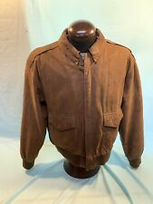 Global Identity G-111 Bomber Jacket Elastic Cuff and Hem Large Leather Brown