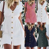 Damen Sommer Kurzarm Strandkleid Minikleid Unifarben Freizeitkleid Hemdkleid Top