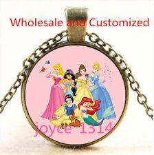 Vintage princess Cabochon bronze Glass Chain Pendant Necklace TS-4639